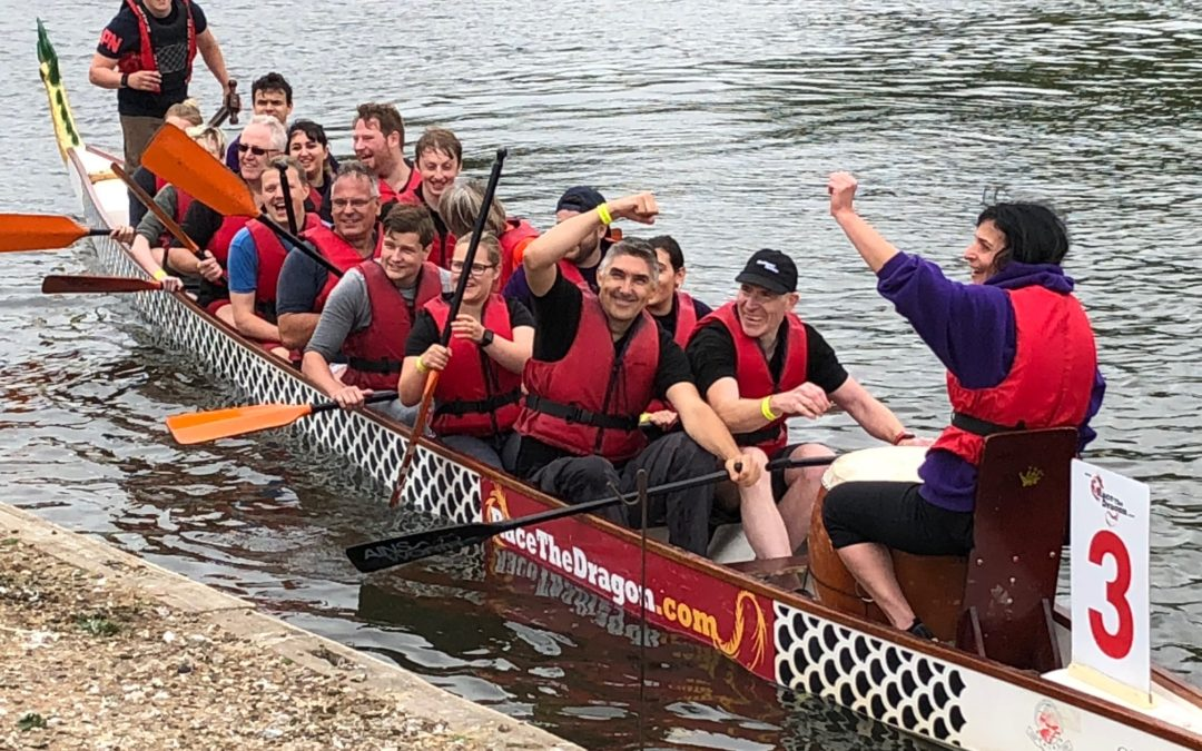 Team 'No5 Rocks Well' rocked at the Reading Dragon Boat Race!